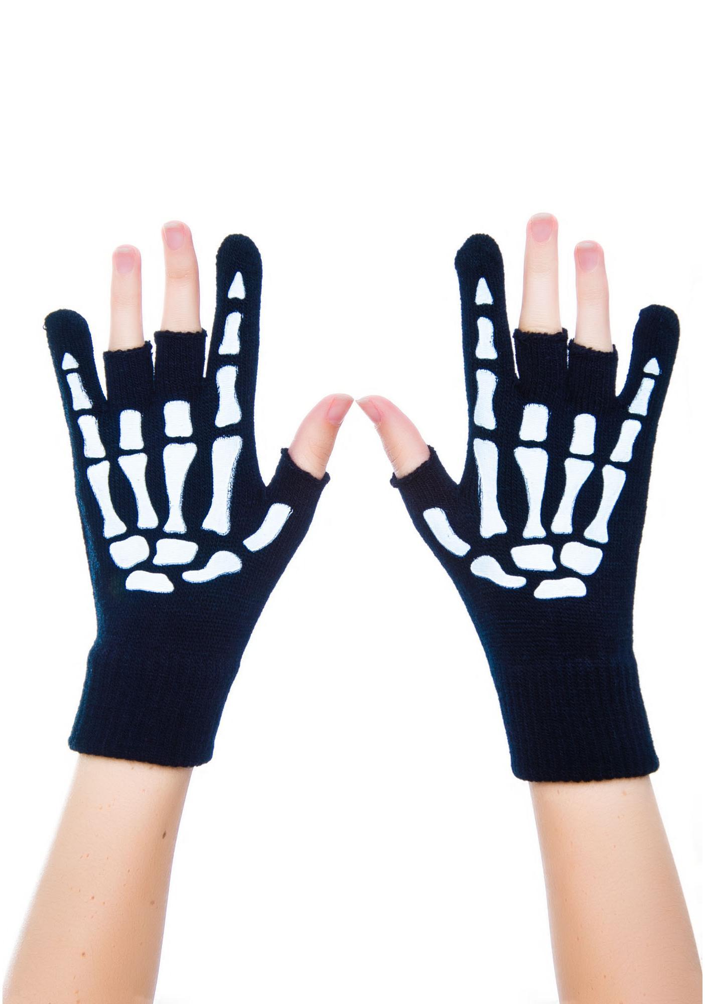 Too Fast Metal Hand Fingerless Gloves