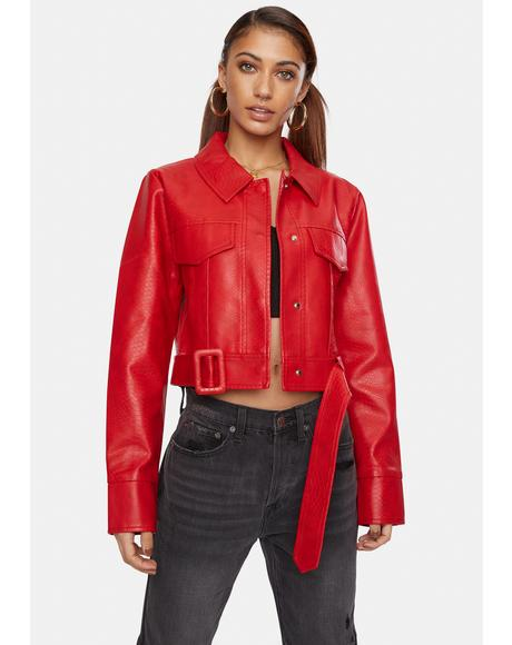 Crimson Snake Britt Vegan Leather Crop Jacket