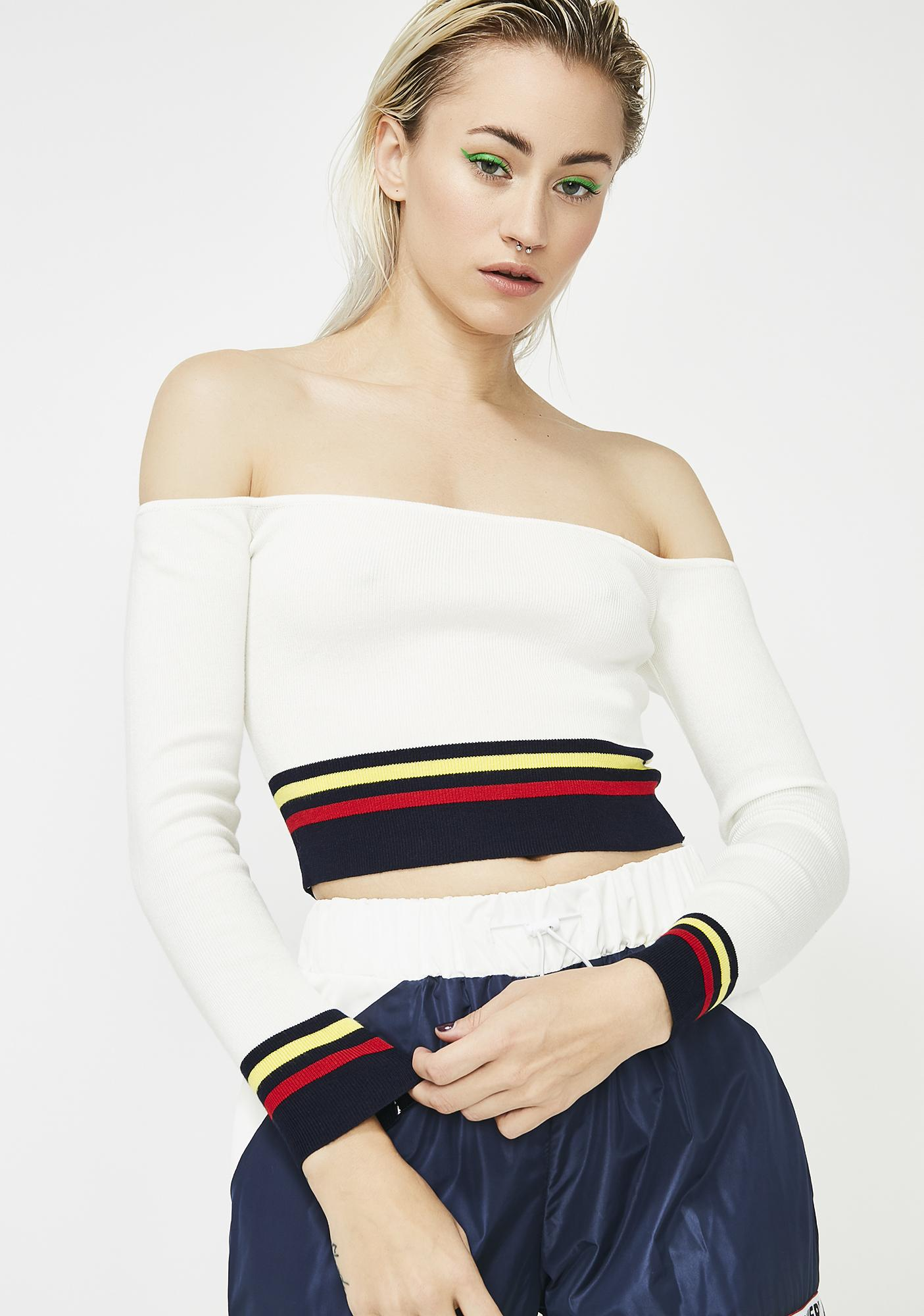 9ea2749f73 White Off The Shoulder Crop Sweater