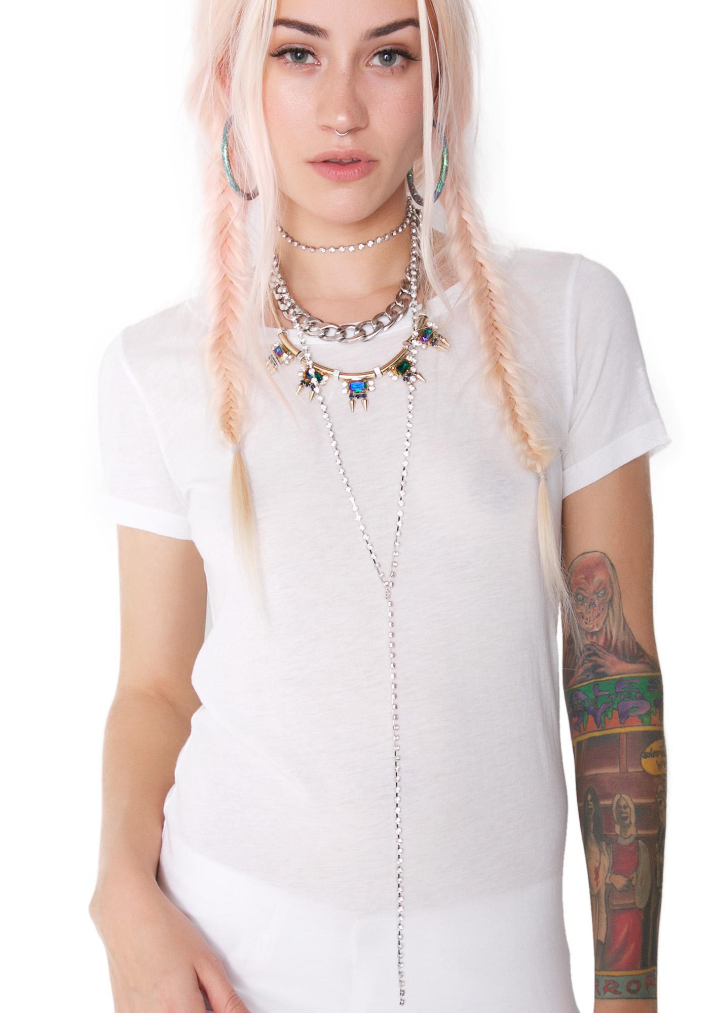 Diamante Long Lariat Necklace