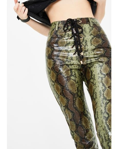 Lily Snakeskin Lace Up Pants