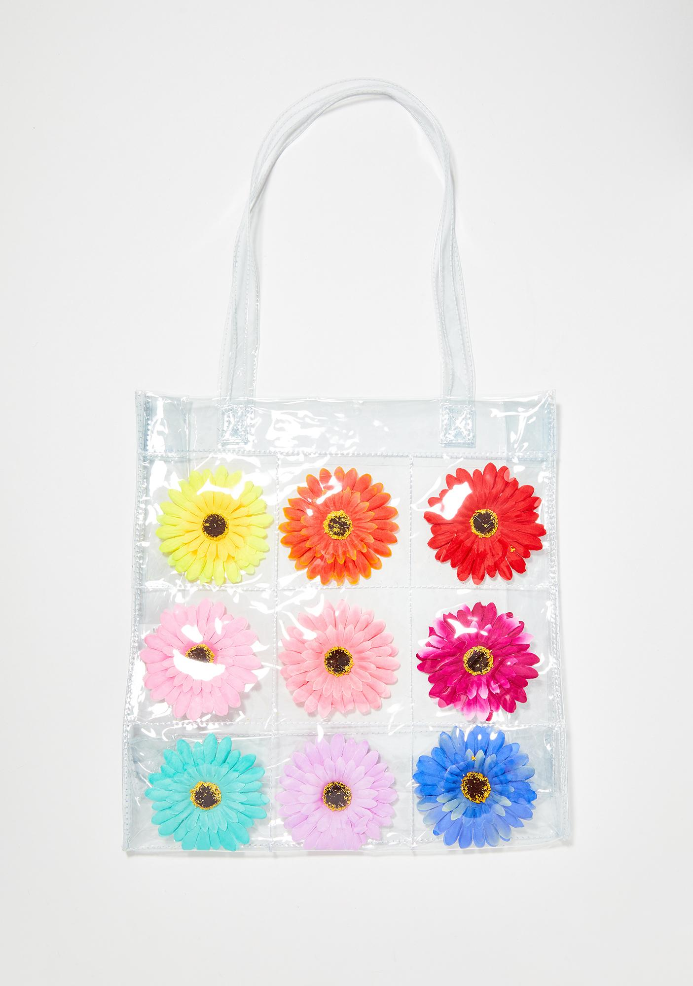 dELiA*s by Dolls Kill Friendly Flower Clear Tote