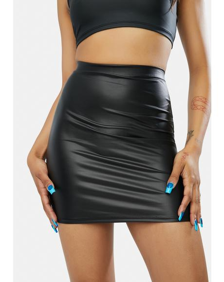 Mystery Business PU Mini Skirt