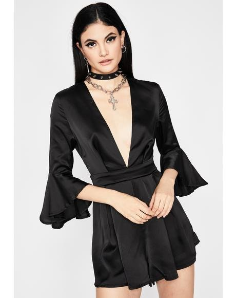 Full Of Disdain Satin Romper