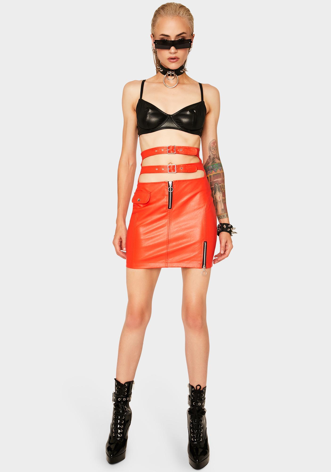Strange Couture Faster Pussycat Vegan Leather Skirt