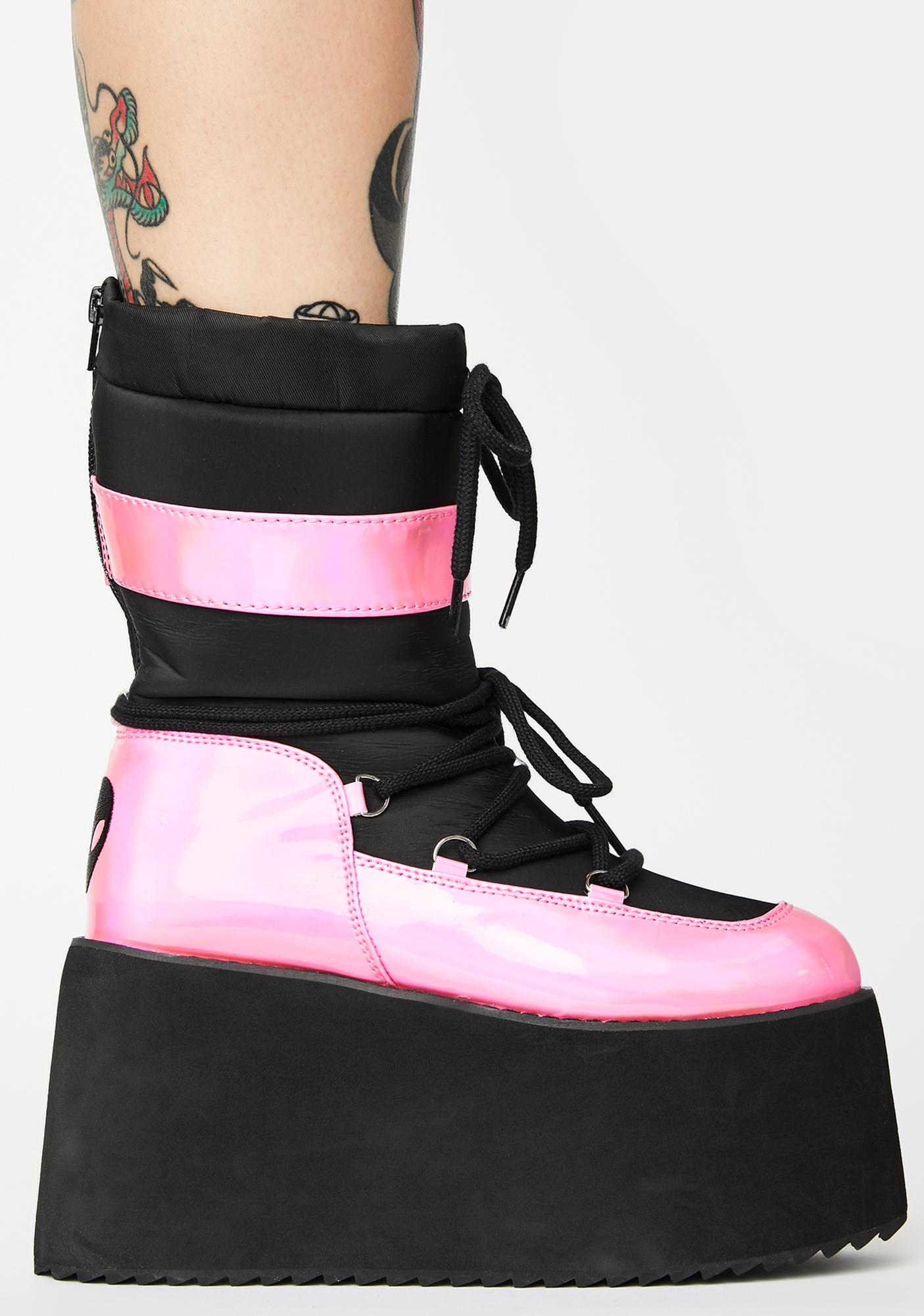 Y.R.U. Pink Holographic Qronic Winter Boots
