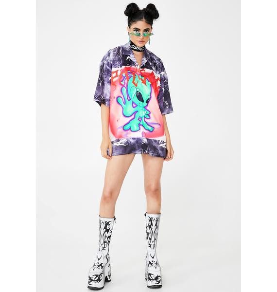 Jaded London Tie Dye Alien Print Shirt