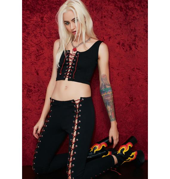 Current Mood Here Comes Trouble Lace-Up Leggings