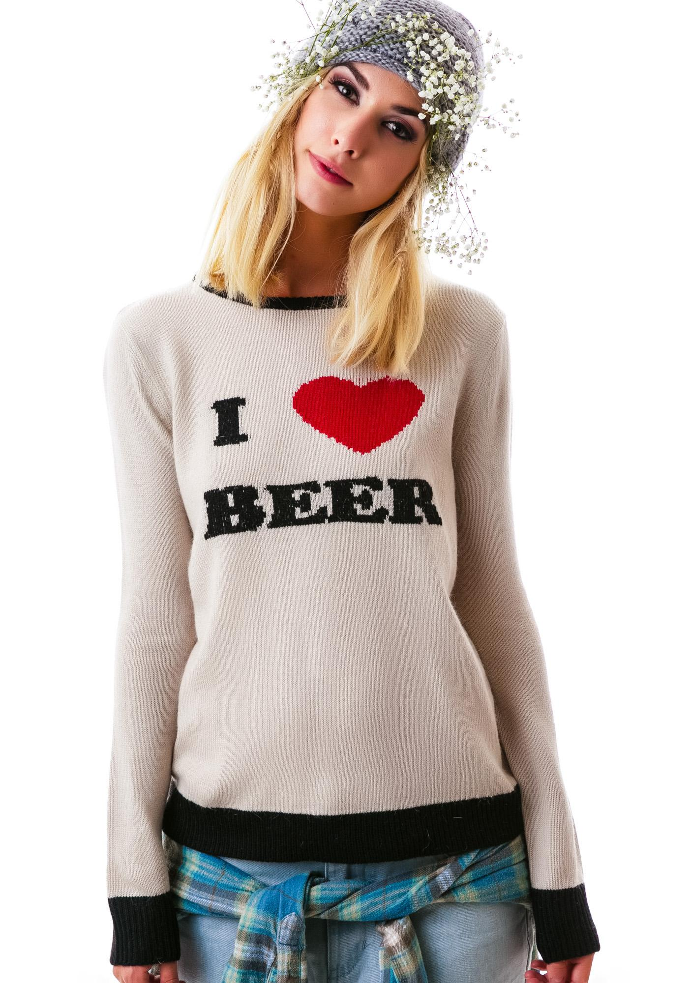 For Love & Lemons I Heart Beer Sweater