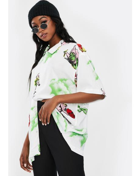 Devils Graphic Button Up Shirt