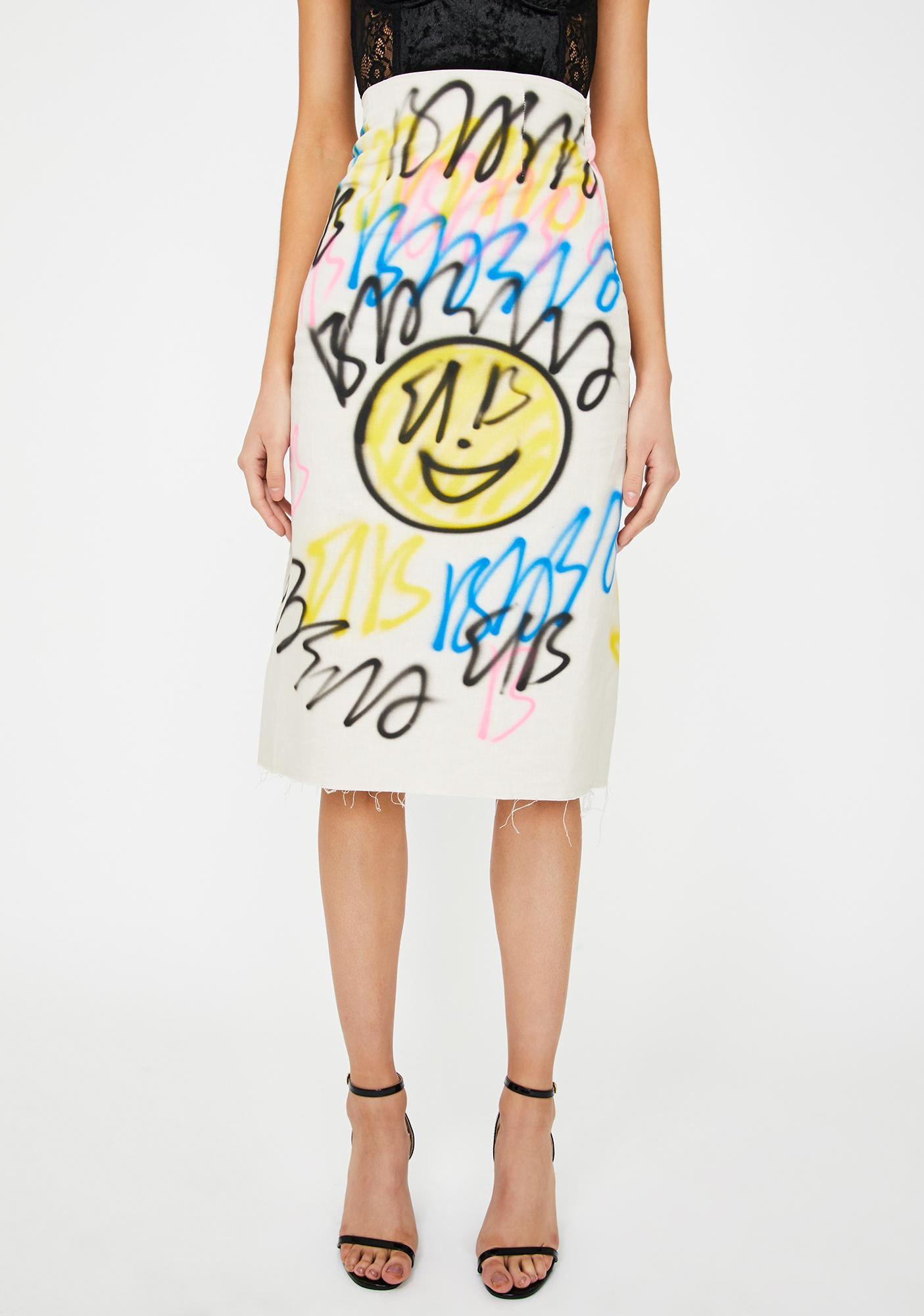 Alzang Graffiti Print Midi Skirt