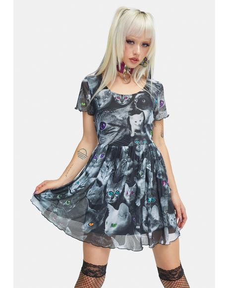 Moonlight Meow Babydoll Dress