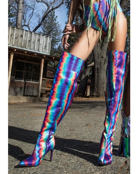 Hypnotic Mist Thigh High Boots