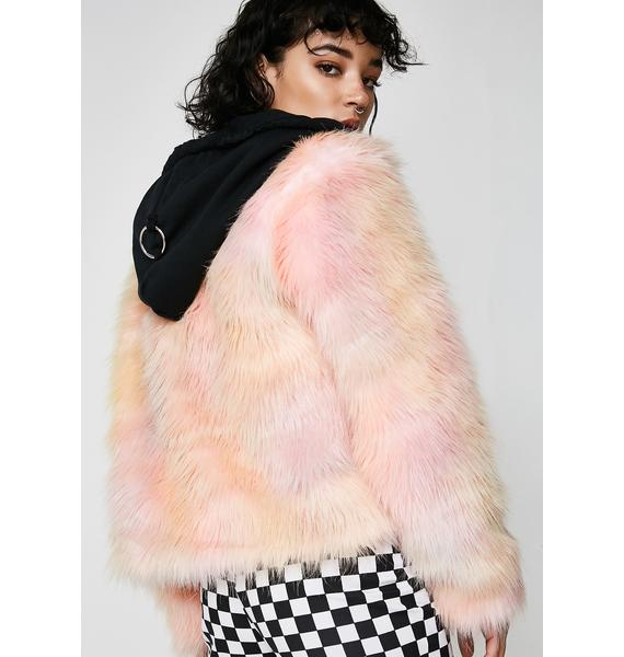 LOVE TOO TRUE Trashed Unicorn Fur Coat With Hood