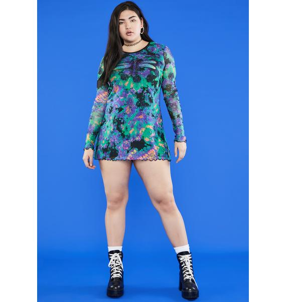 dELiA*s by Dolls Kill Lil Antisocial Dragonfly Mesh Dress