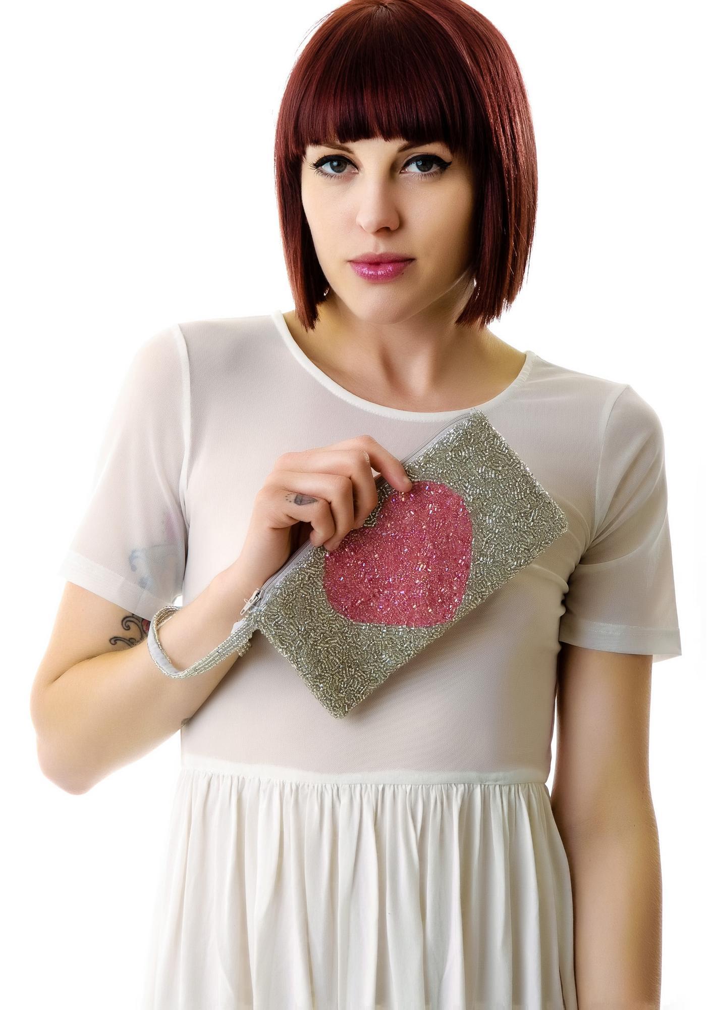Coco's Heart Beaded Wristlet