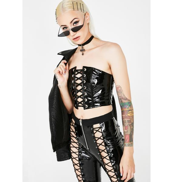 Current Mood Lady Vengeance Lace-Up Tube Top