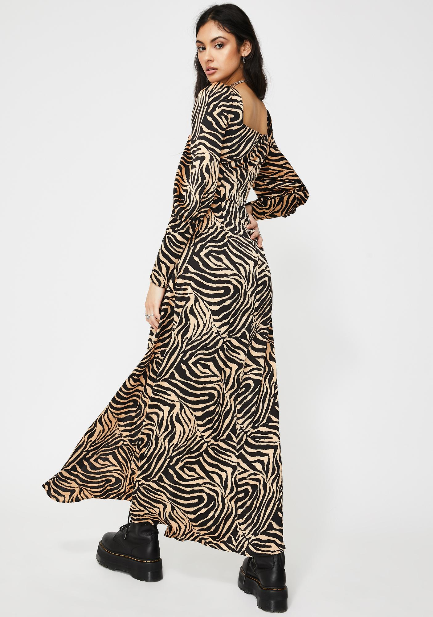 Glamorous Tan Zebra Long Sleeve Maxi Dress