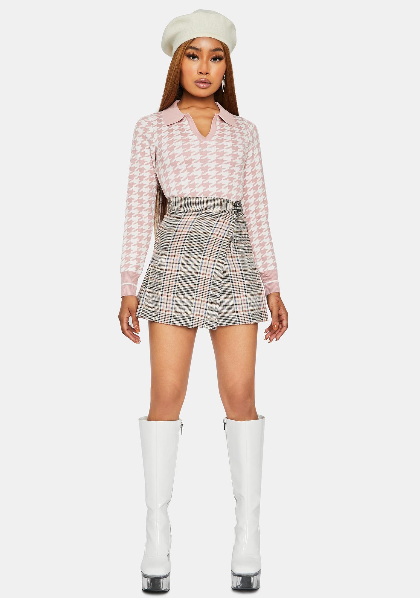 Sweet So True Bestie Houndstooth Collared Sweater