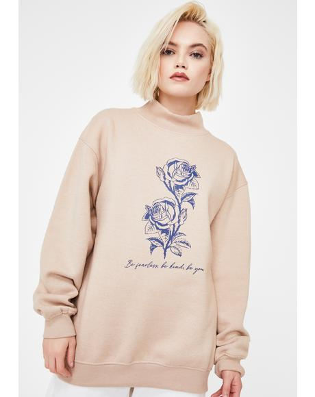 Flowers Mock Neck Graphic Sweatshirt