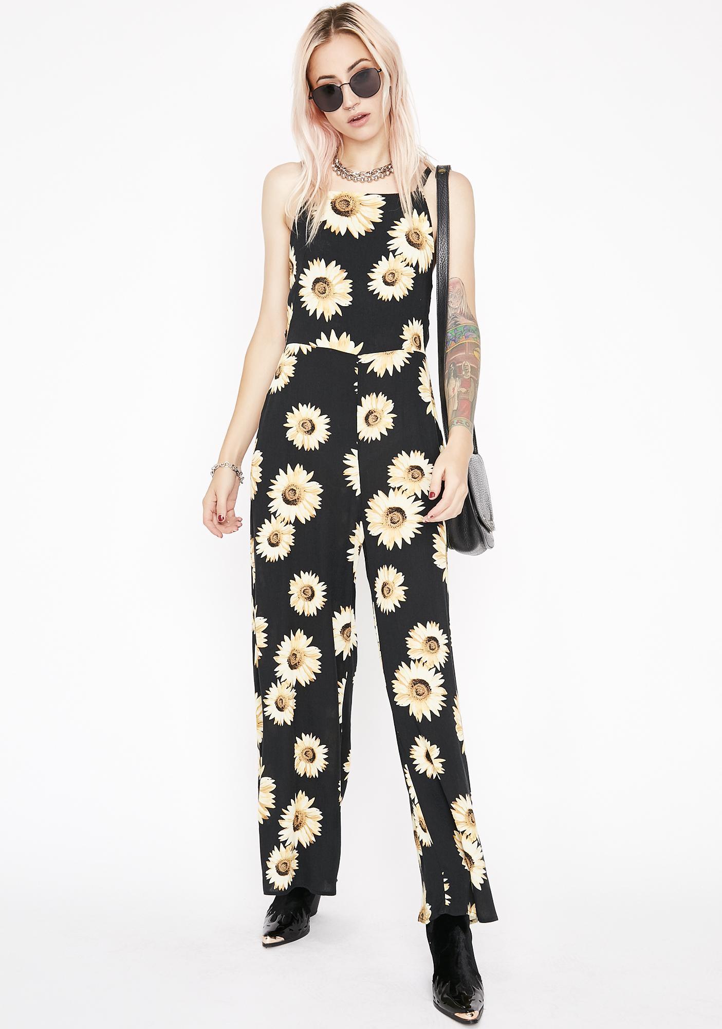 75d974a8f17 Black Wide Led Sunflower Jumpsuit