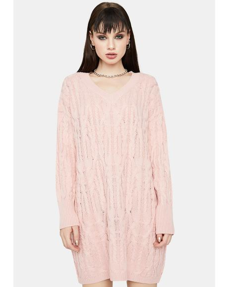 Blush Cuddle Weather Sweater Dress