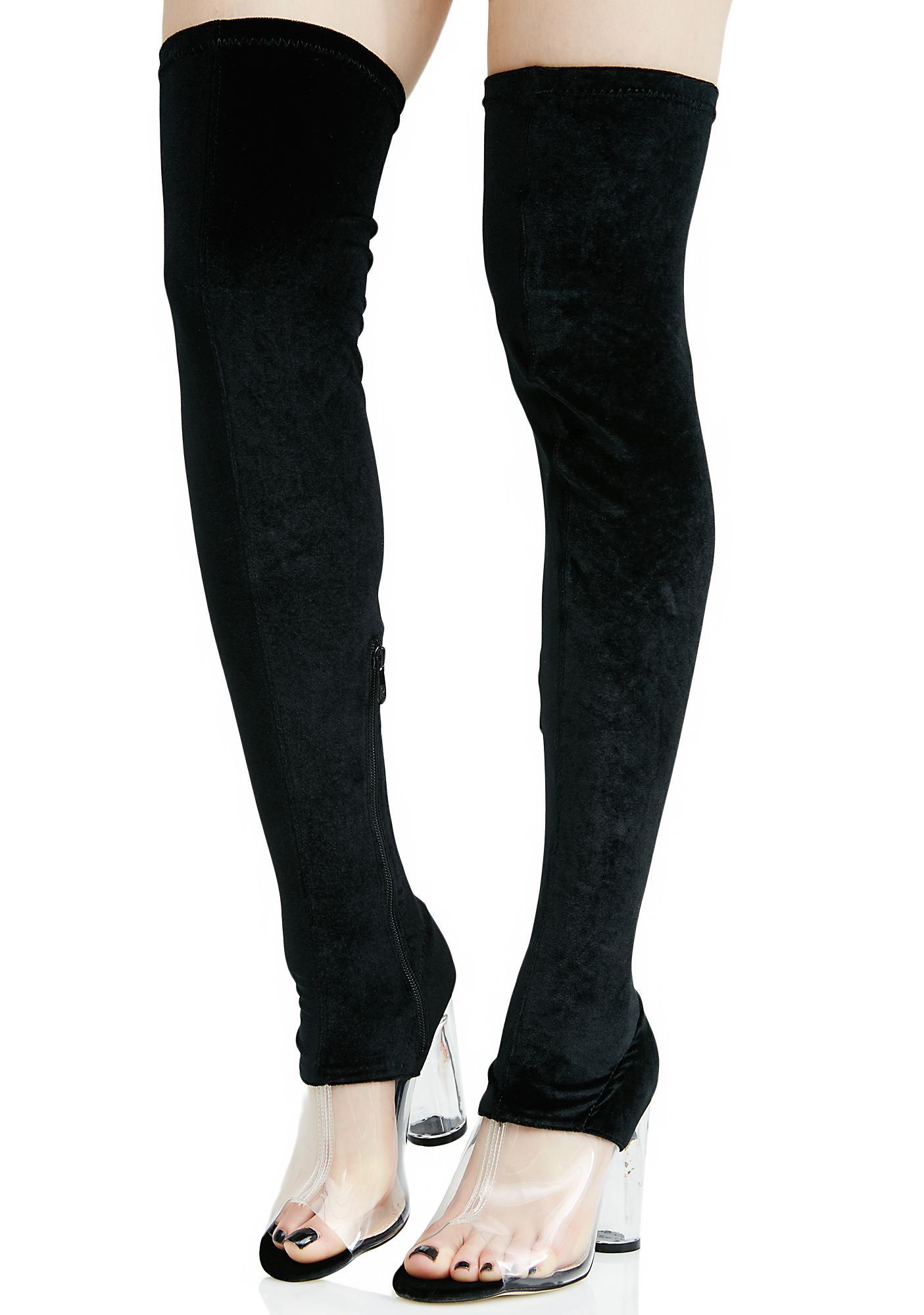 c8cba21f1bd ... Public Desire Kiara Perspex Thigh-High Boots ...