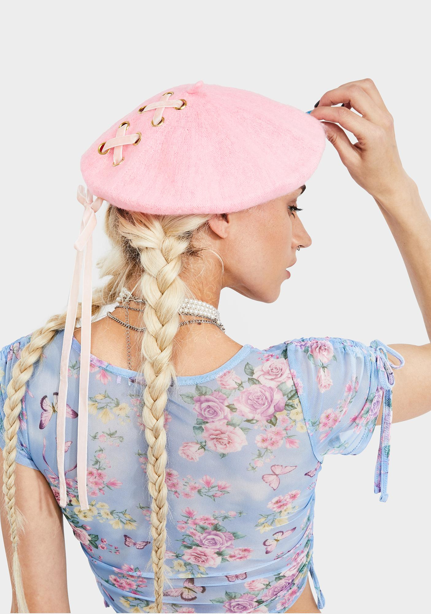 Pretty Storyteller Lace Up Beret