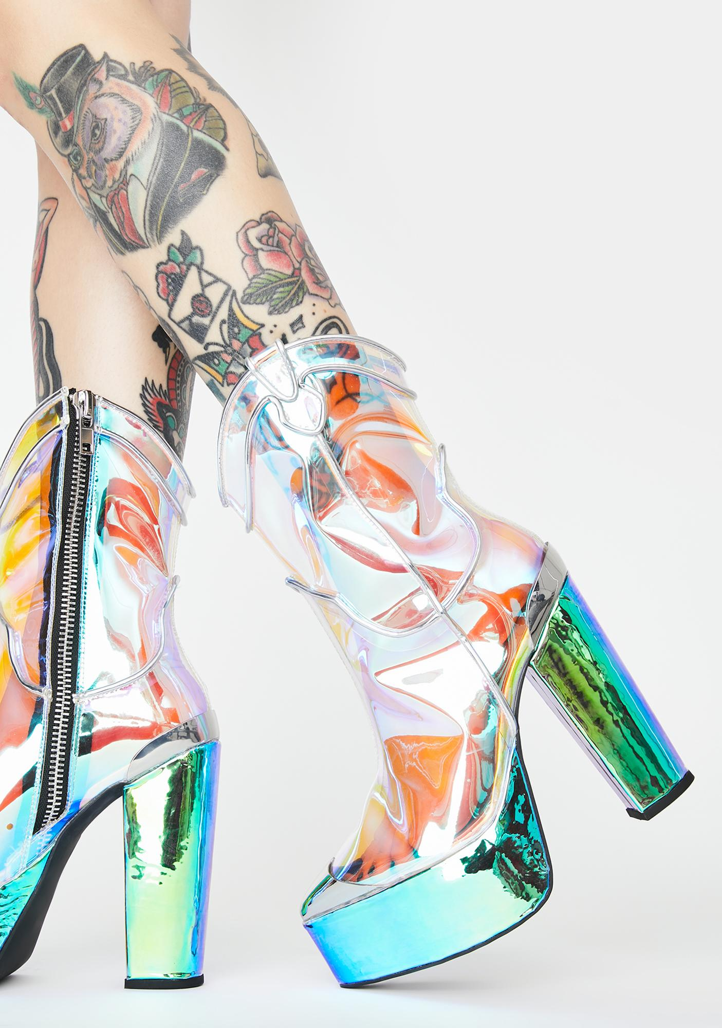 Club Exx Dazed Deputy Holographic Boots