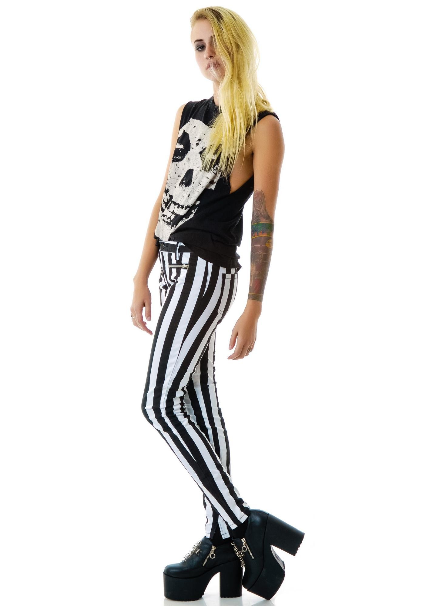 Two Faced Striped Skinny Jeans