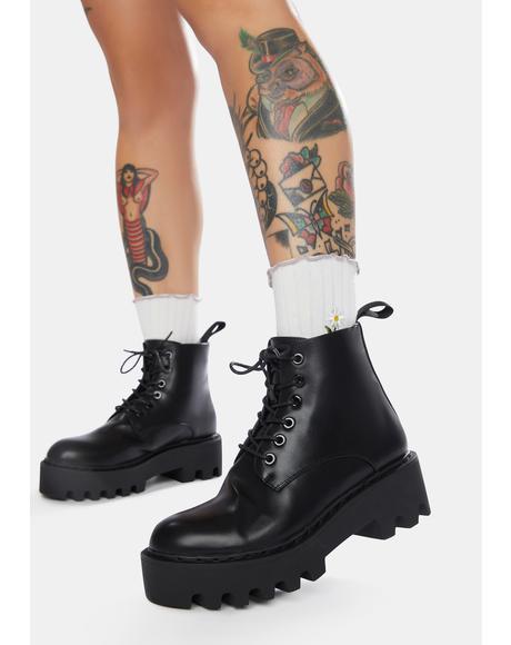 Black Stitch Unforgiven Platform Ankle Boots