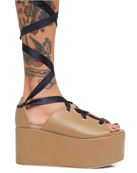 Storm Tie Up Flatform Sandals