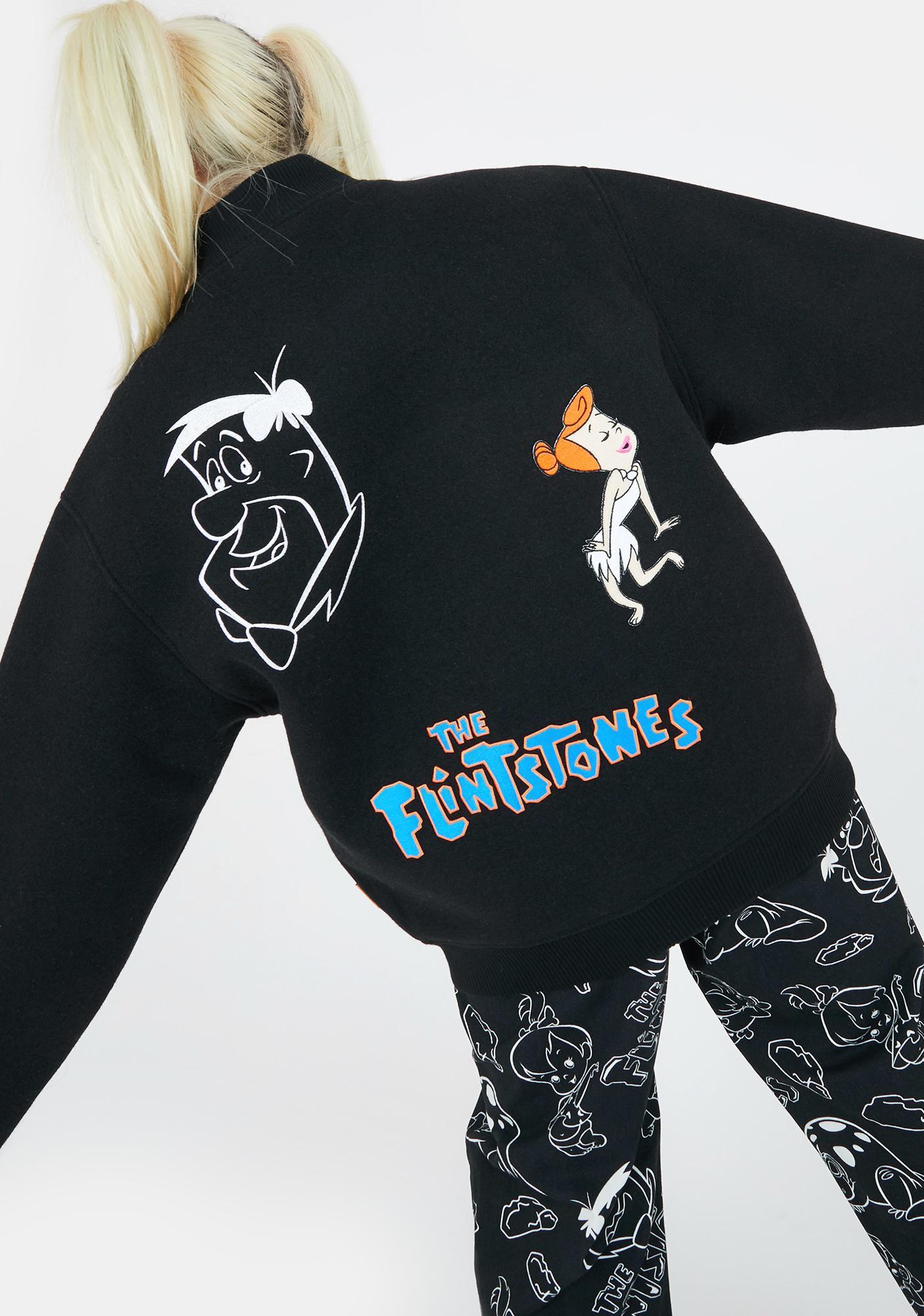 Lazy Oaf X Flintstones Characters Bomber Jacket