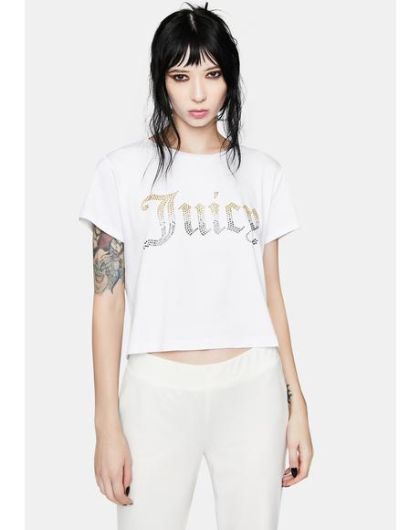 White Rhinestone Juicy Logo Tee