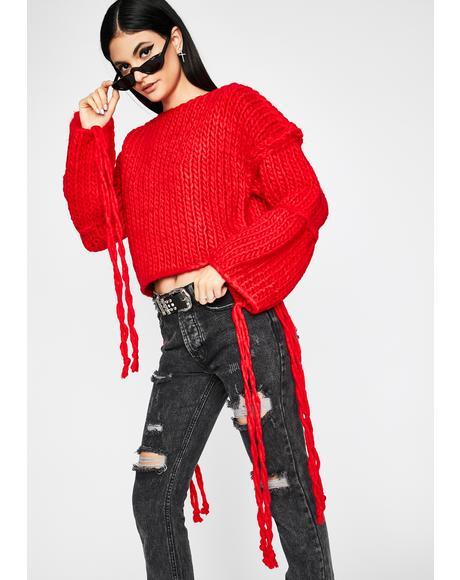 Hot Pumpkin Spice Vibez Chunky Knit Sweater