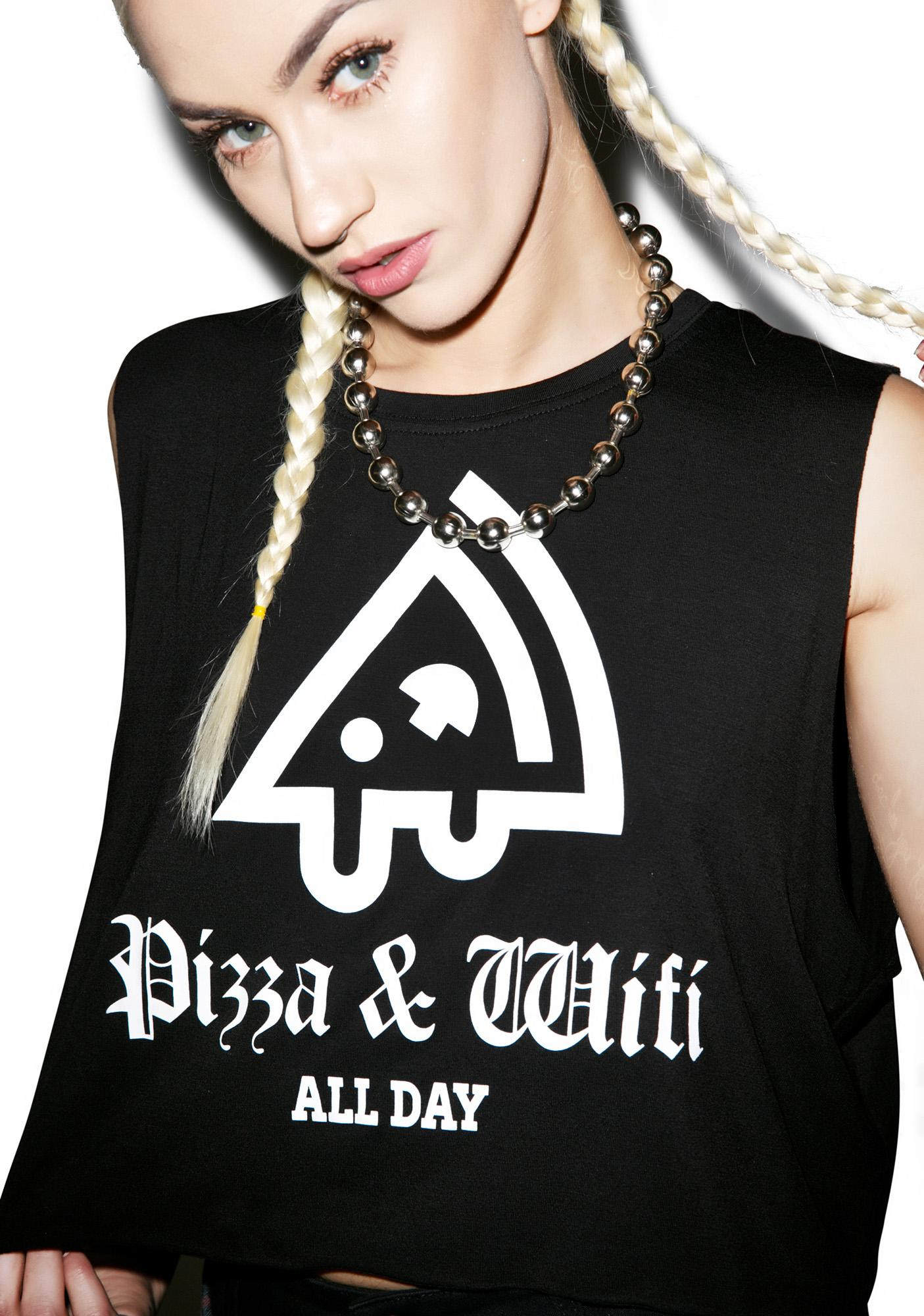 MeYouVersusLife Pizza & Wifi Cropped Muscle Tank Top