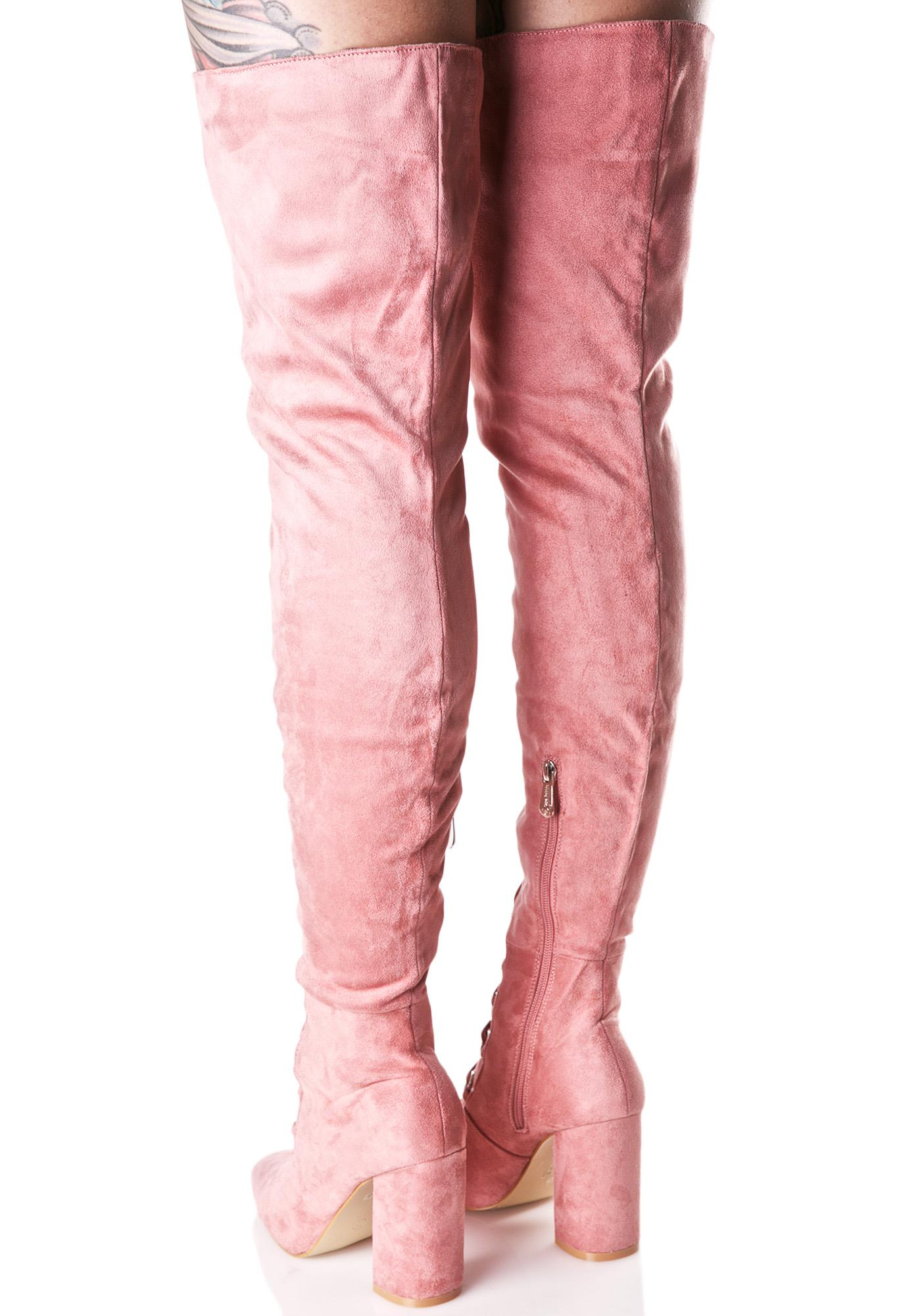Pink Suede Lace Thigh High Boots | Dolls Kill