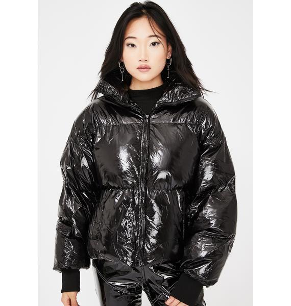 Public Desire Black Oversized Vinyl Puffer Coat