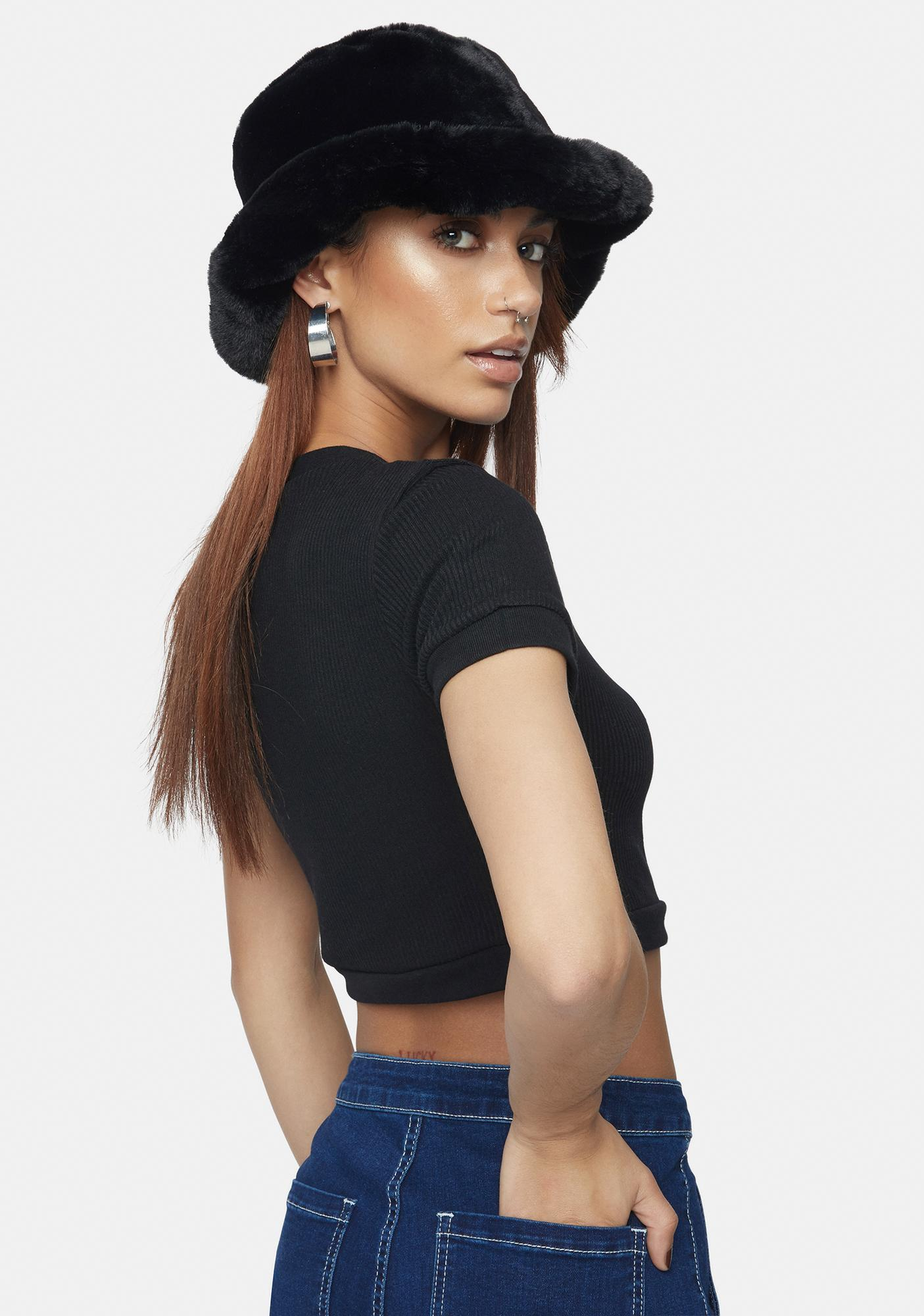 Kiki Riki  Simple Secret Button Front Crop Top