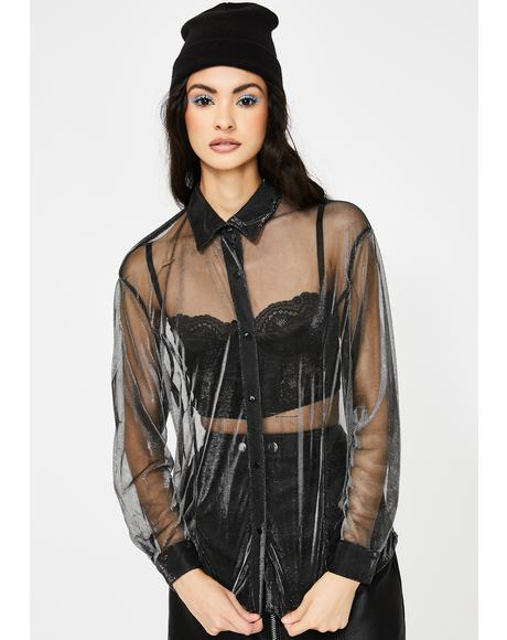Sheer Oversize Button Up Shirt