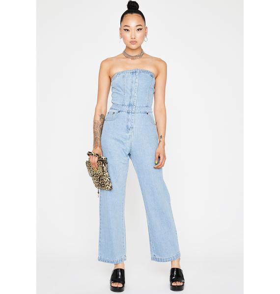 Sky Hyped Up Denim Jumpsuit