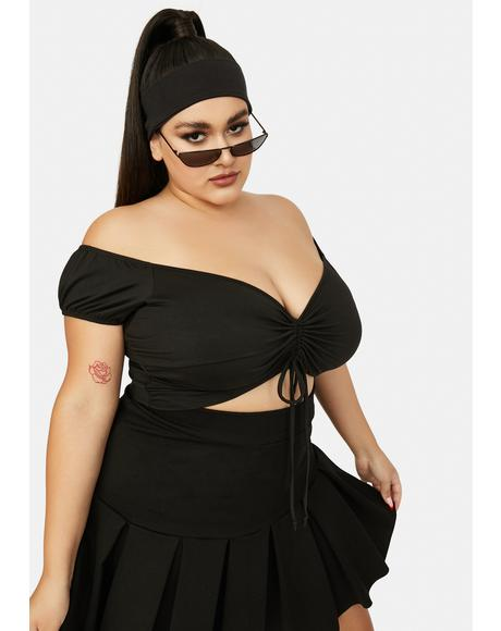 Darkness Left High And Dry Ruched V-Neck Crop Top