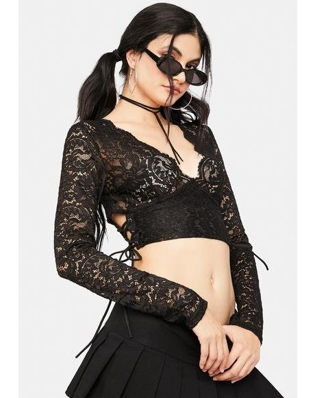 Midnight Flash Of Fantasy Lace Crop Top