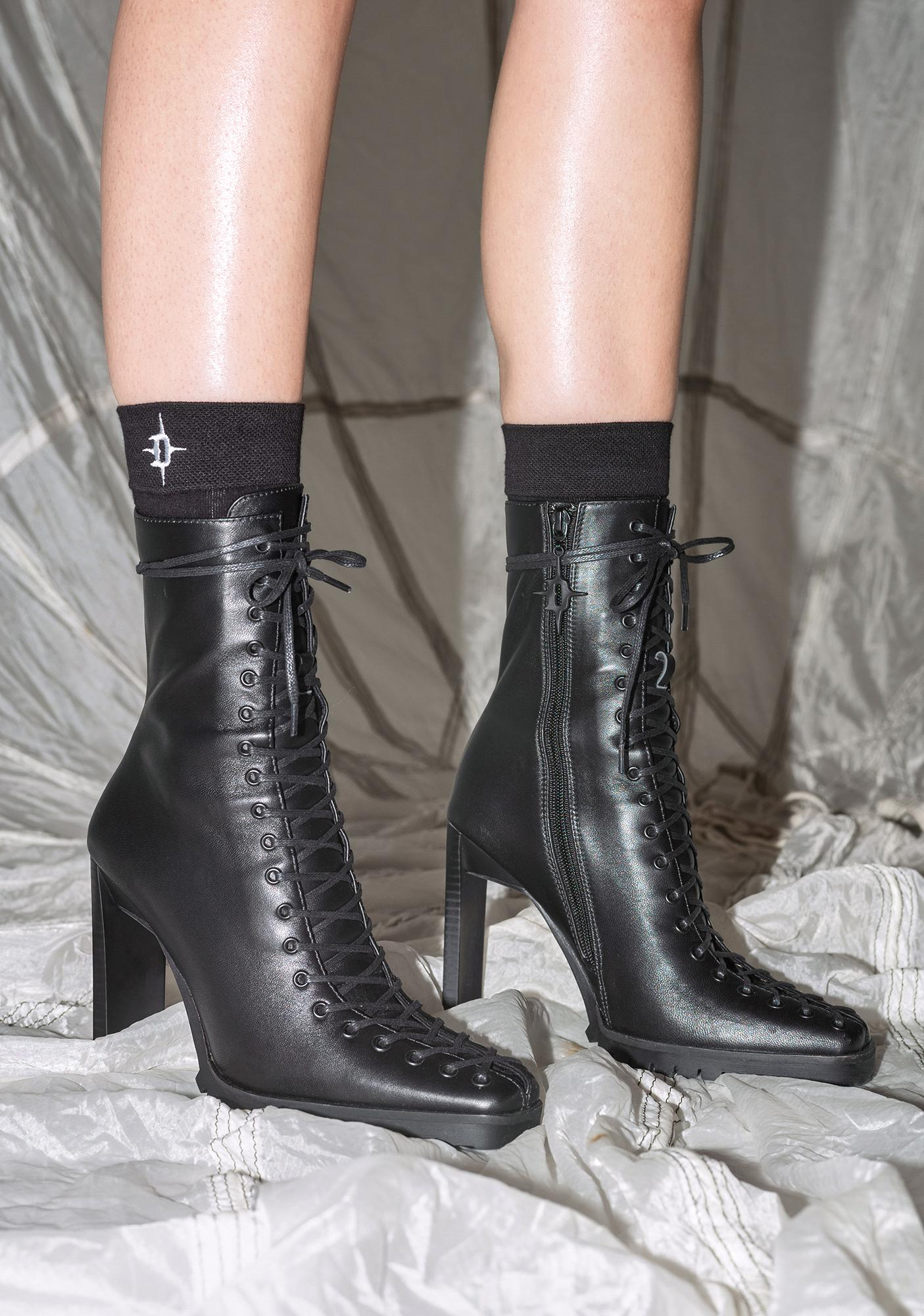 DARKER WAVS Synth Genuine Leather Lace-Up Ankle Boots