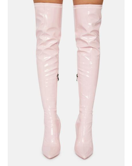 Blush Checkmate Thigh High Boots