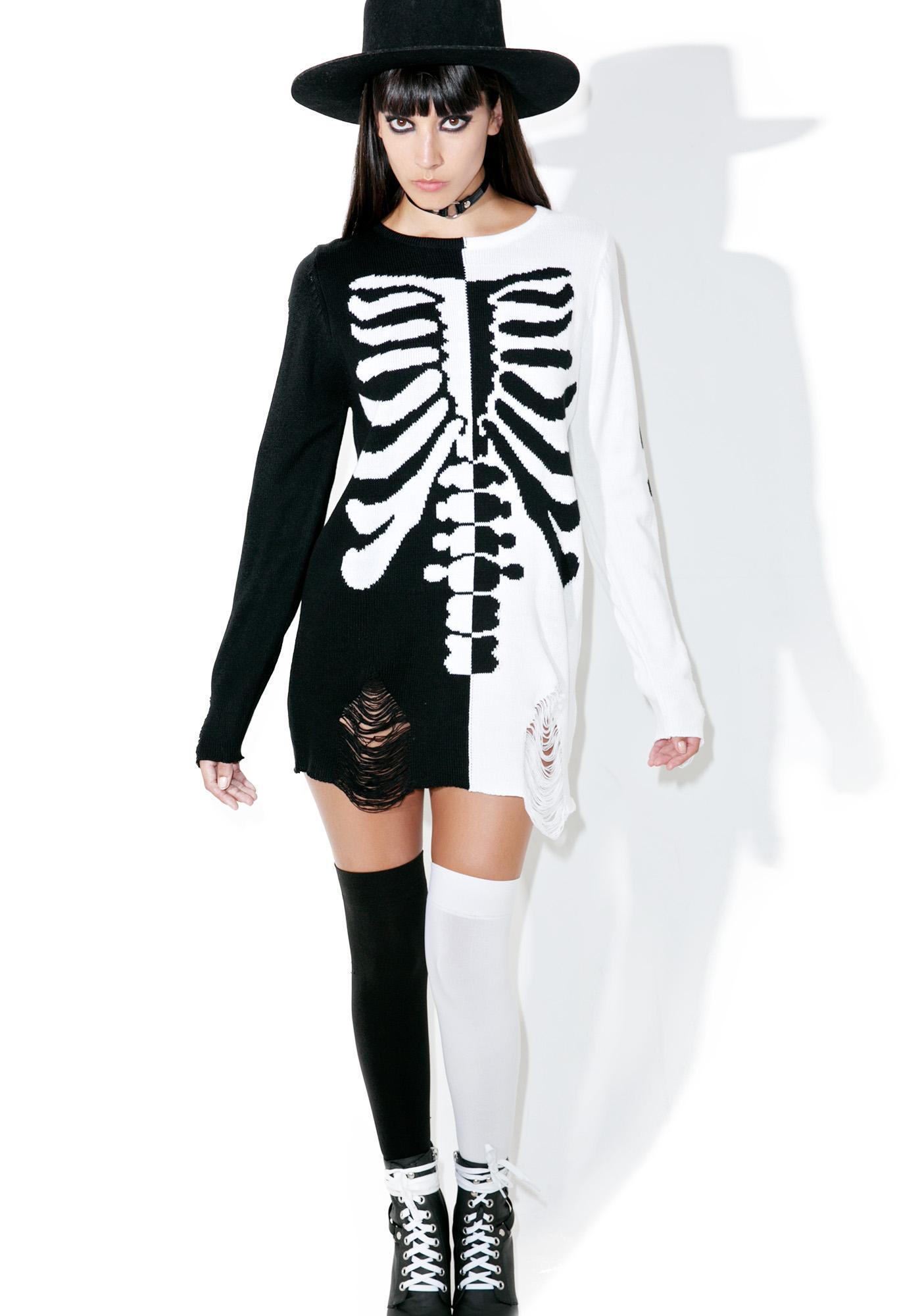 Killstar Skeletor Split-Knit Sweater