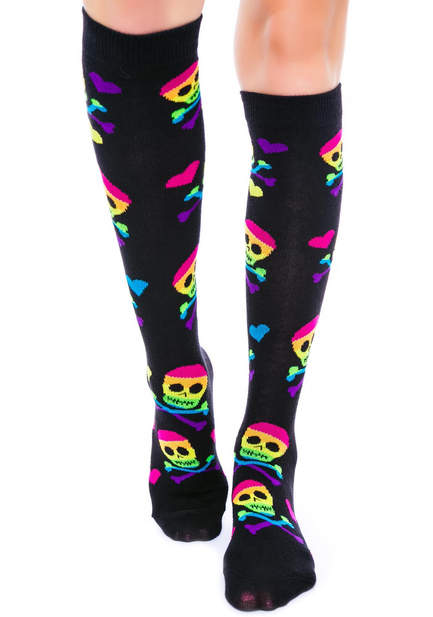Skulls Heart Rainbows Knees Socks