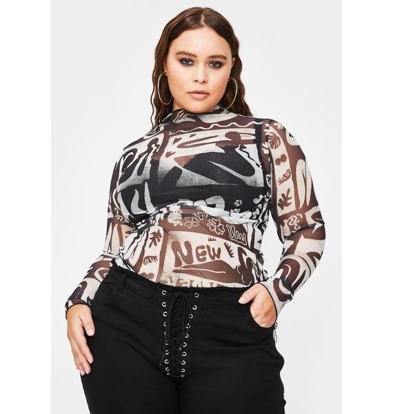 NEW GIRL ORDER Curve Abstract Print Mesh Top
