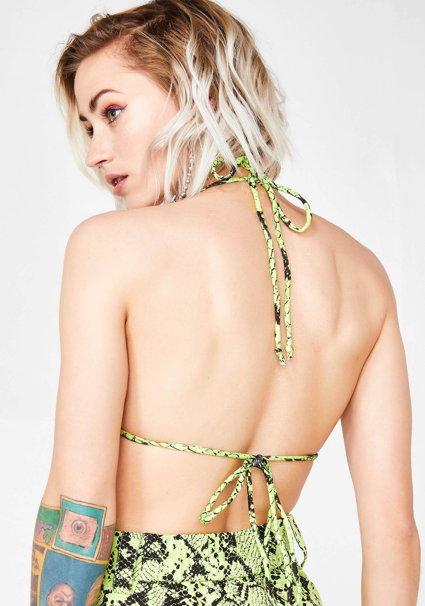 Jaded London Neon Green Snakeskin Triangle Top