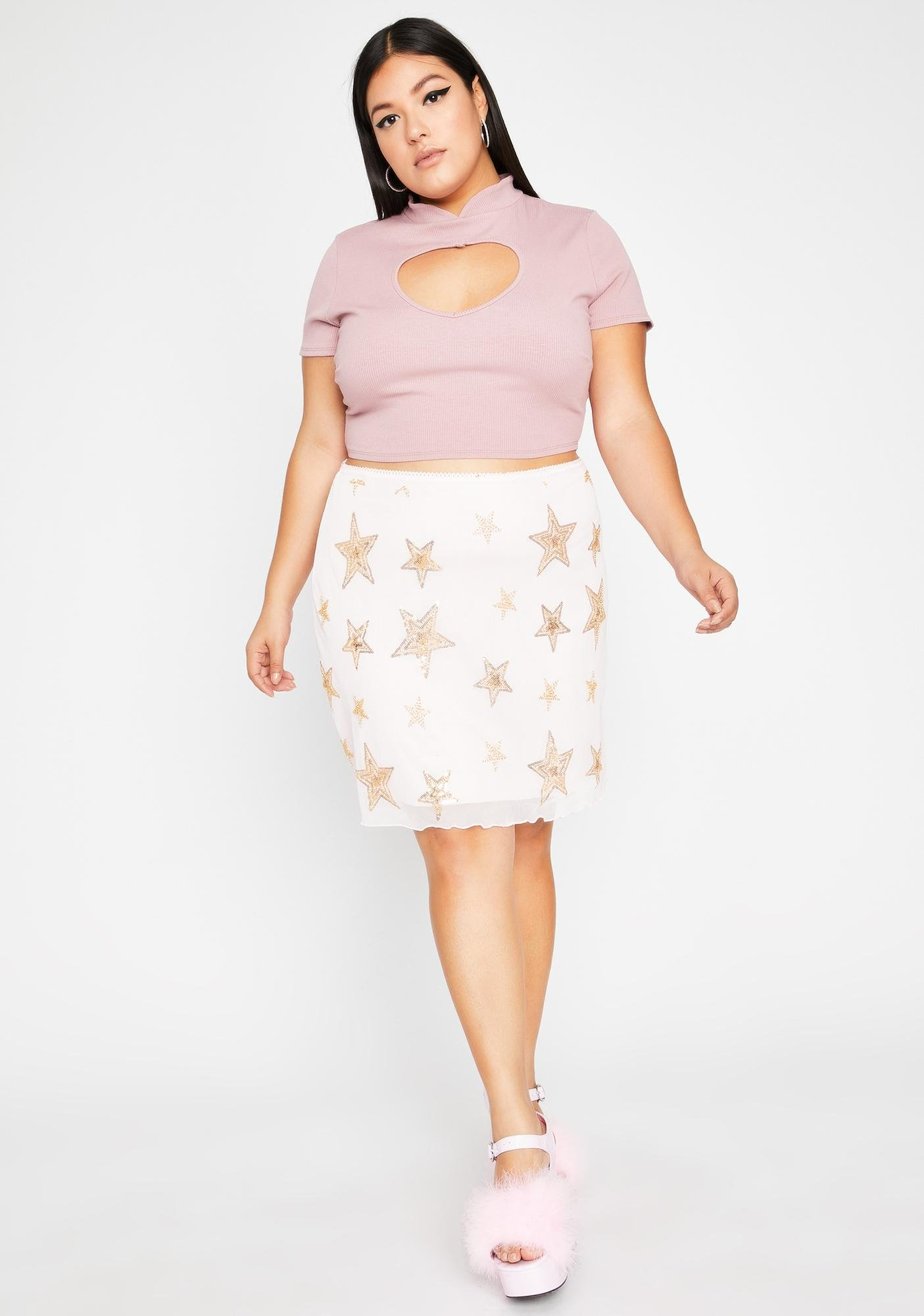 Rose Miss Love More Cut-Out Top